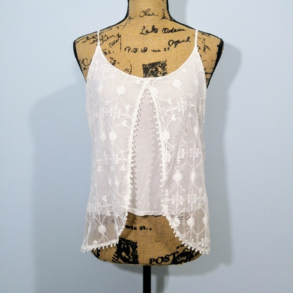 ebea9473a58f9f Ambiance Tops - Open Front Feminine Lace Overlay Boho Tank size M